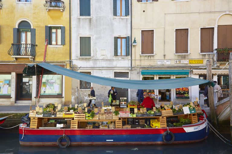 Canal fruit and vegetable stall, Venice, Italy