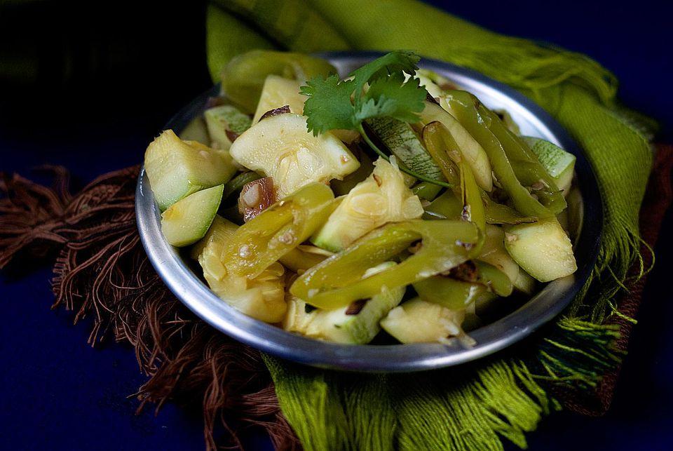 Round Zucchini with Green Chiles