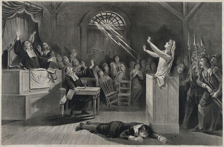 Dibujo recreando un momento de los juicios de Salem