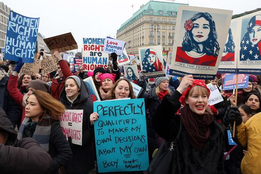 Women demonstrate against Trump