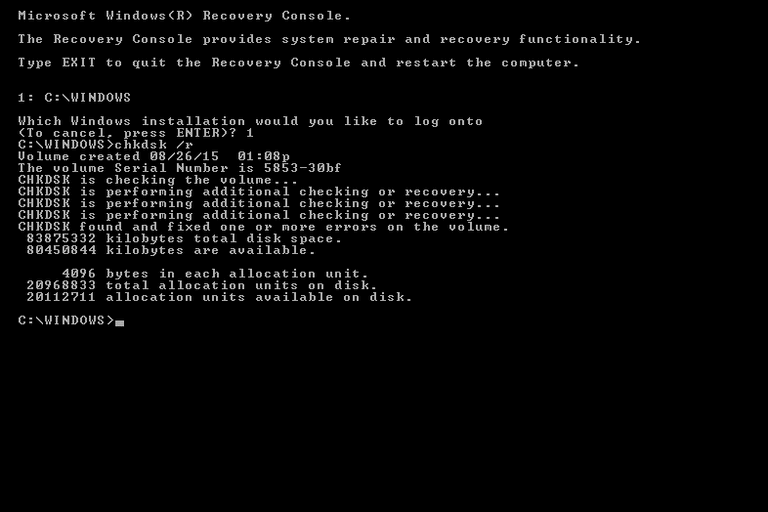 Screenshot of the chkdsk /r command and results in Windows XP Recovery Console