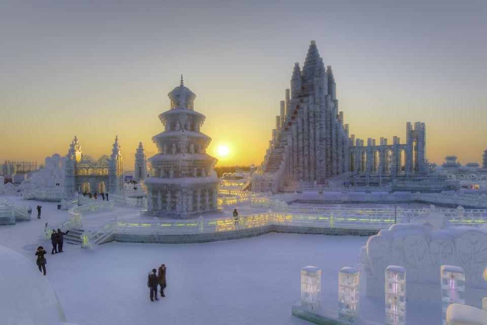 China, Harbin, Heilongjiang Province, Spectacular illuminated ice sculptures at Harbin Ice and Snow Festival