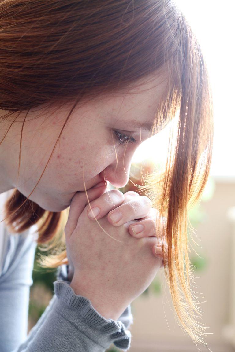 Teen girl is crying