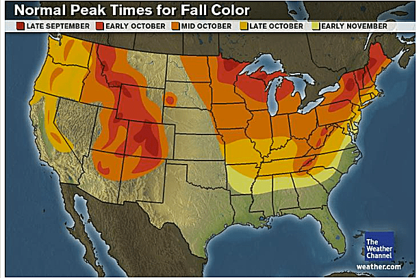 Fall Foliage Prediction Map When Leaves Will Change Color - Us foliage map