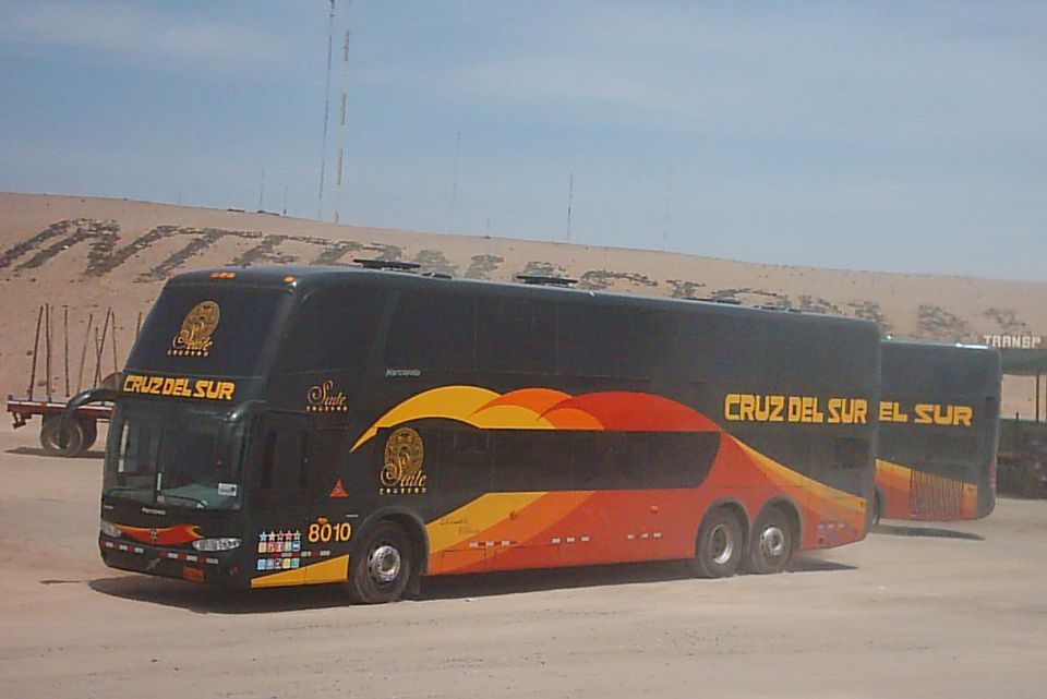Cruz del Sur buses on the Pan-American Highway in Peru.