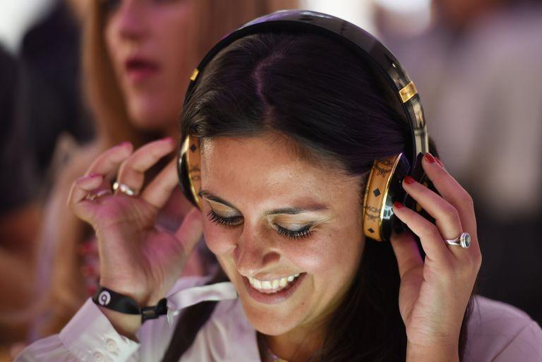 Woman using music app