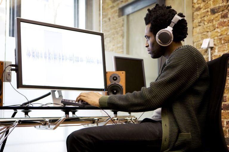 Sound engineer editing music
