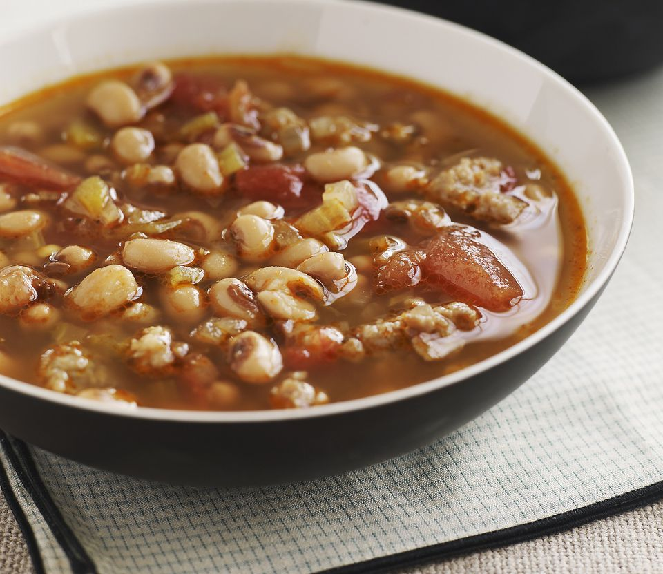 Vegetarian black eyed pea soup with tomatoes