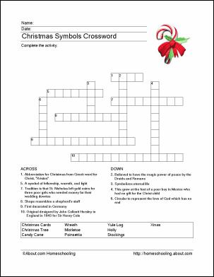 Symbols of Christmas Crossword Puzzle
