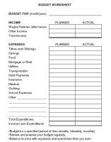 Budget Worksheet