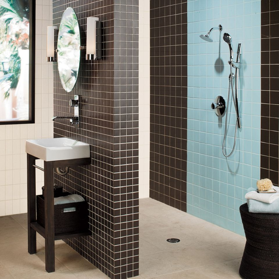 Tile picture gallery showers floors walls american olean matte glacier and french roast shower doublecrazyfo Image collections