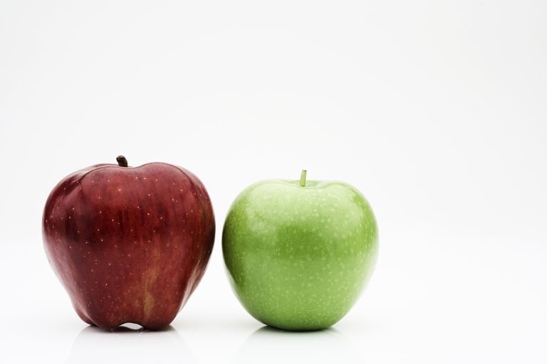There are exactly 2 apples in this image.