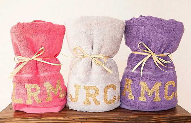 Glitter Monogrammed Bachelorette Party Towels