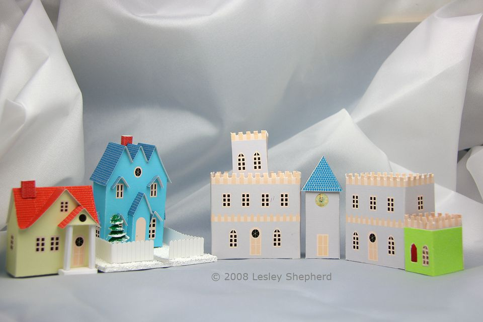 Printable towers mixed with other Putz style houses for a miniature Christmas village
