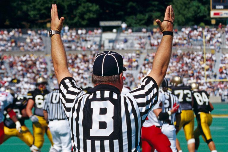 Referee signaling touchdown at football match, rear view