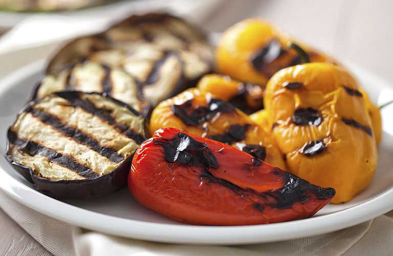 Grilled Eggplant and Peppers