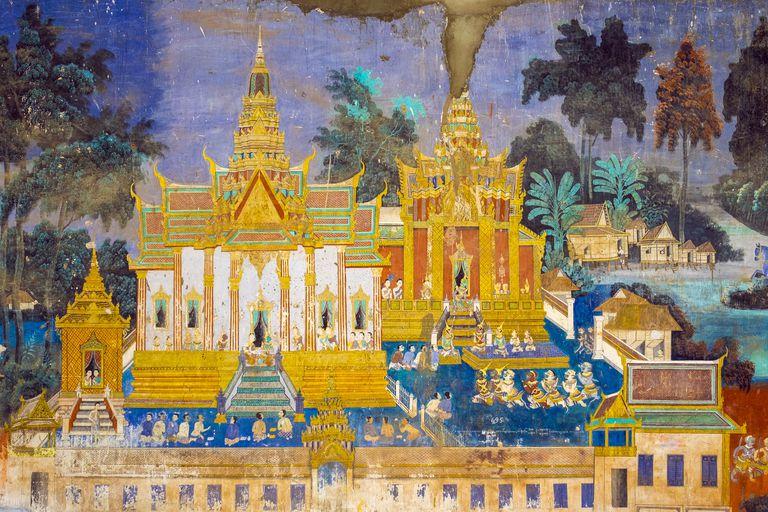 Murals depicting scenes from ancient epic Reamker (Ramayana) at the Silver Pagoda (Wat Preah Keo Morakot), Royal Palace, Phnom Penh, Cambodia, Indochina, Southeast Asia, Asia