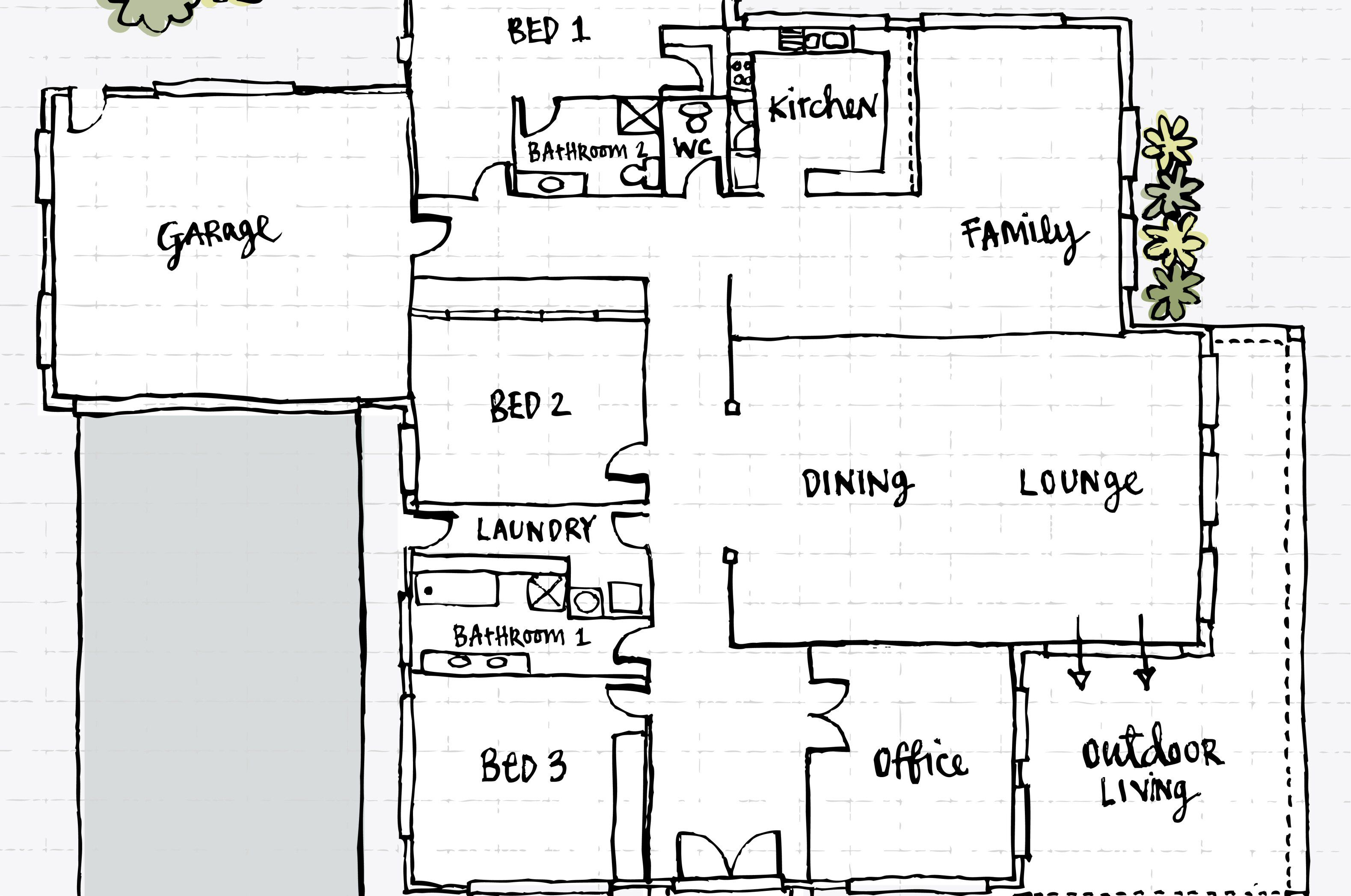 Hand Drawn Floor Plan Of A House