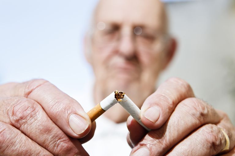 Never too late to stop smoking: old man breaks cigarette