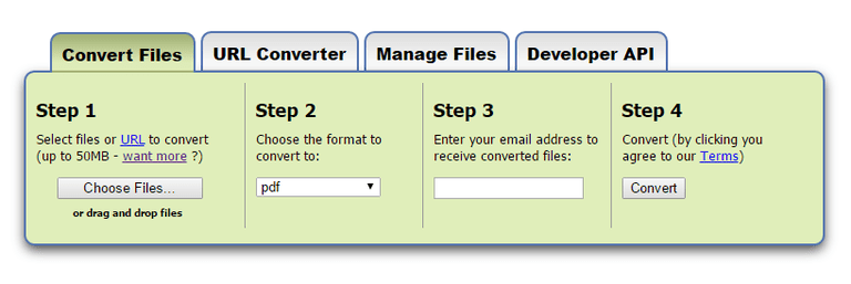 Screenshot of the Zamzar online file converter