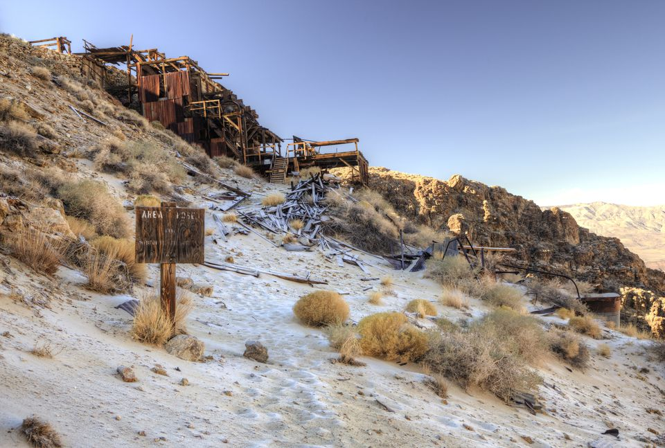 The remains of a former stamp mill in the mining ghost town of Skidoo in Death Valley National Park.