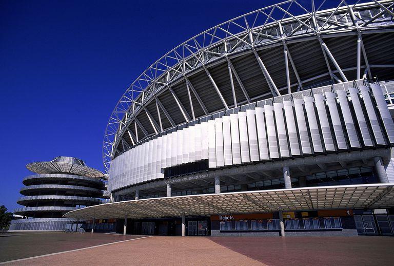 Close-up of exterior architecture of Stadium Australia, Sydney