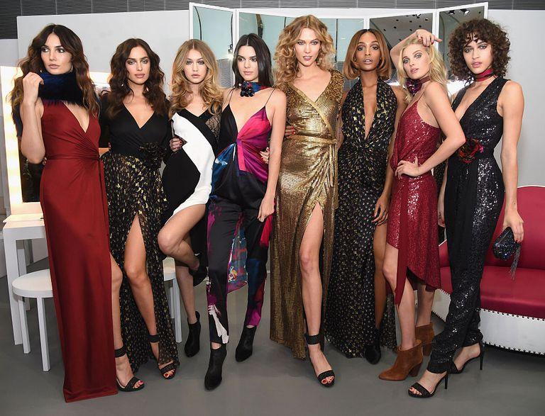 Lily Aldridge, Irina Shayk, Gigi Hadid, Kendall Jenner, Karlie Kloss, Jourdan Dunn, Elsa Hosk and Alanna Arrington pose in the Diane Von Furstenberg Fall 2016 show during New York Fashion Week on February 14, 2016 in New York City.