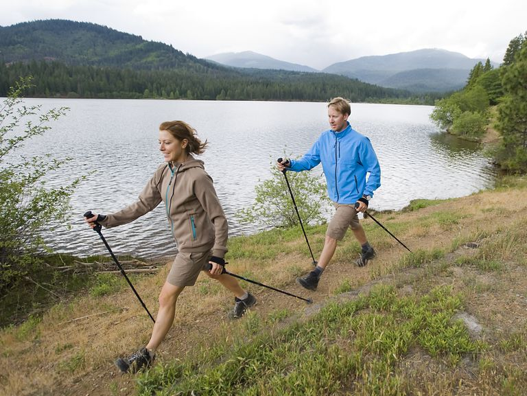 Nordic Walking Couple at Lake