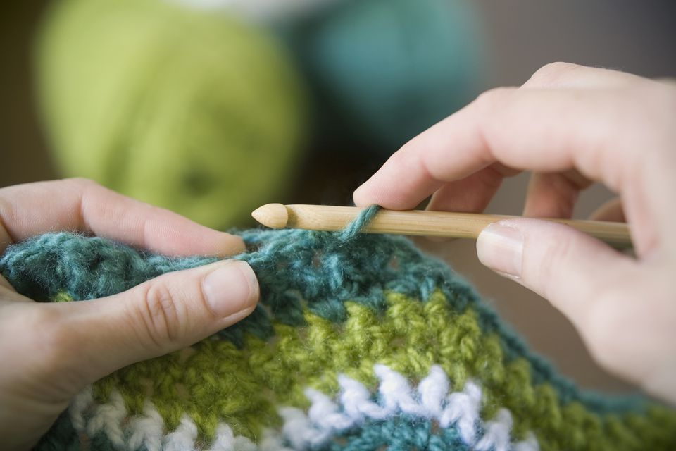 Hands crocheting