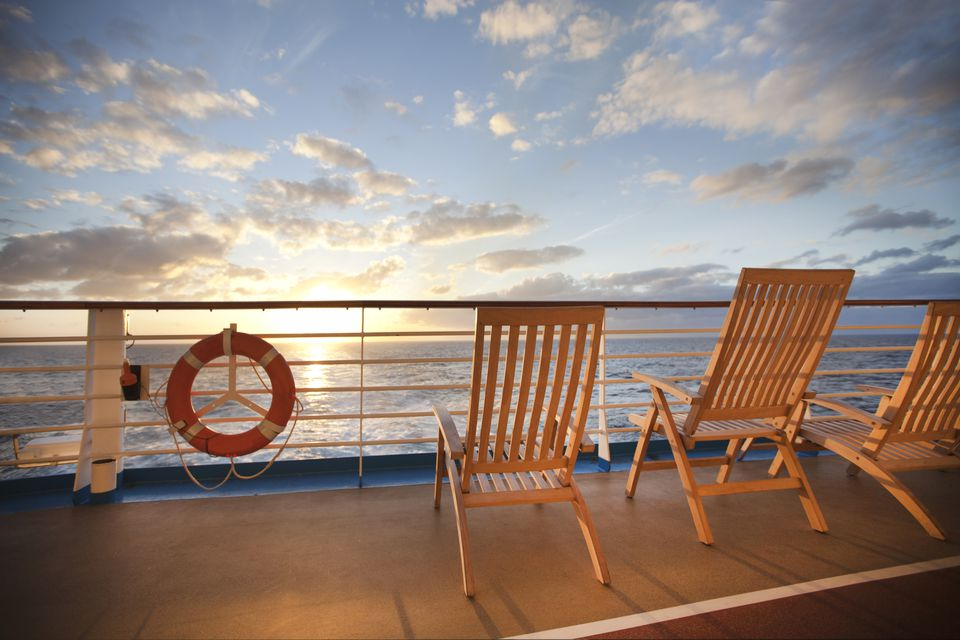 View of the sea from the deck of a cruise ship