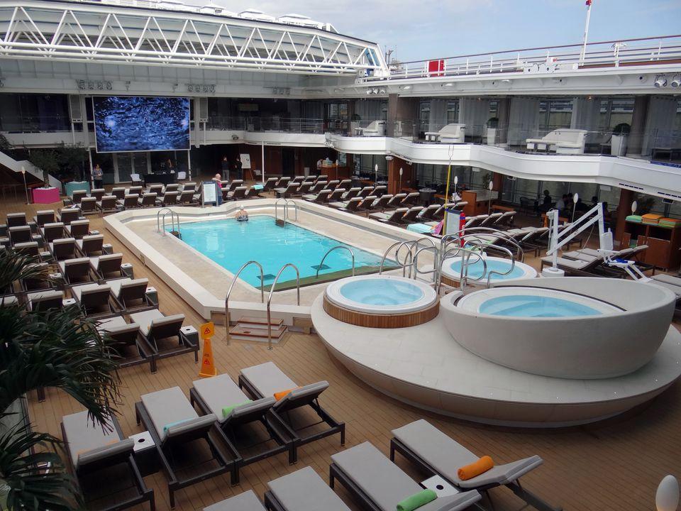 Lido swimming pool on the Holland America Koningsdam cruise ship
