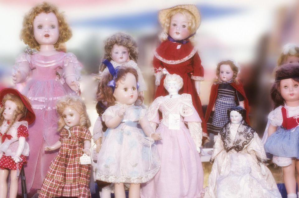 Antique dolls at a flea market