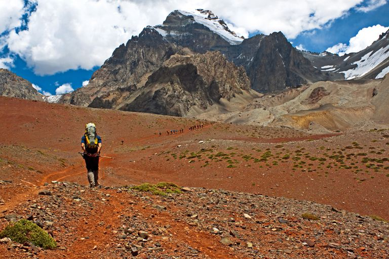 Climbers approached base camp below Aconcagua, the highest mountain in South America.