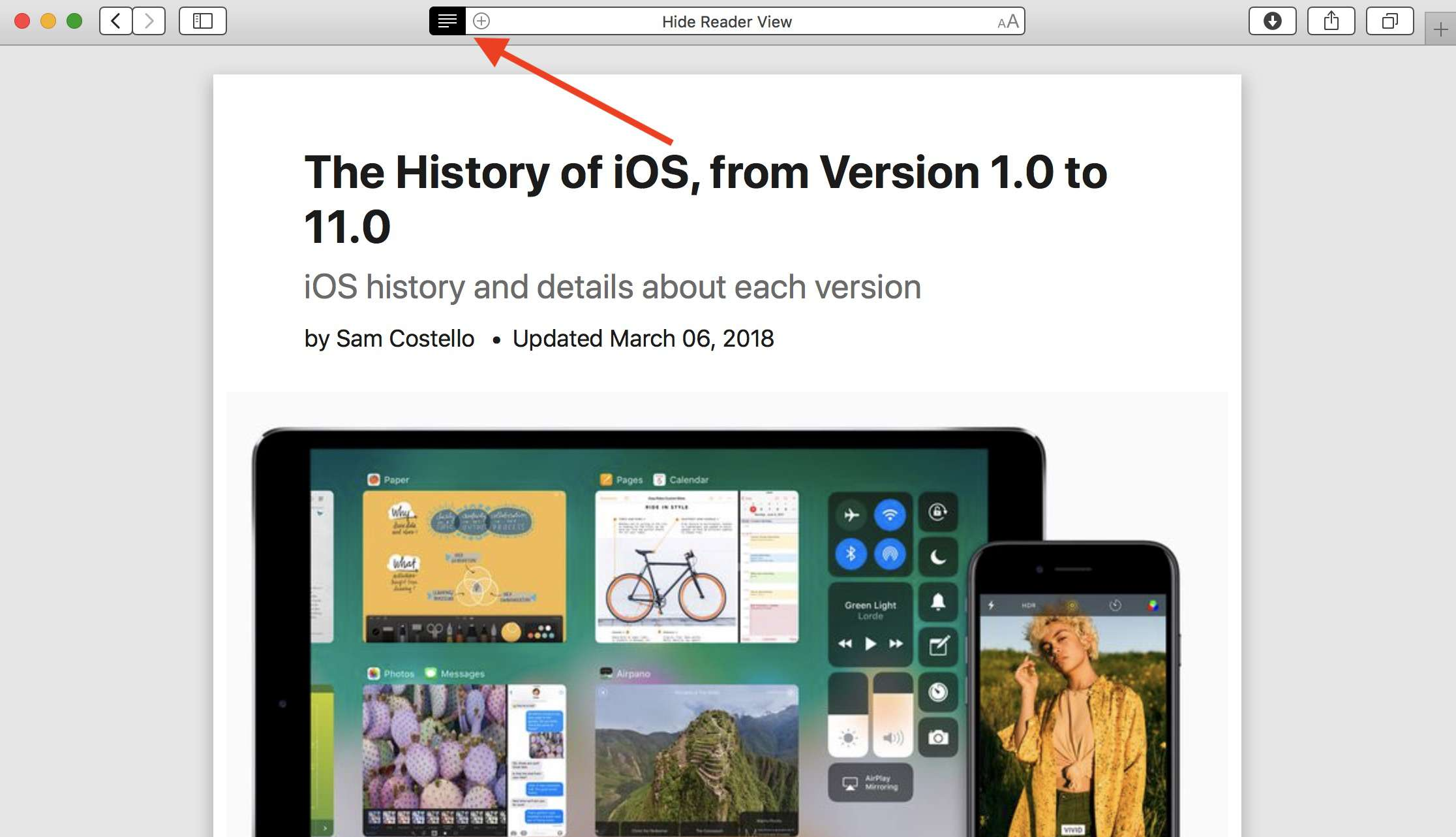 How to use Reader mode in Safari