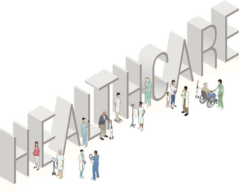 Personas frente a cartel de Healthcare (seguro médico en inglés)