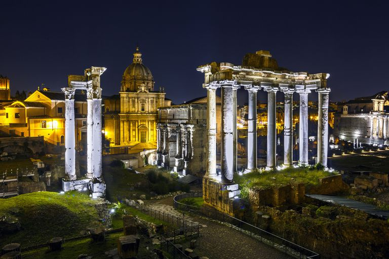 Palatine hill / Roman forum at night , Rome , Italy