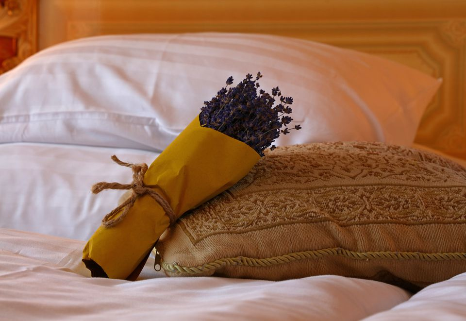 lavender bunch on the bed