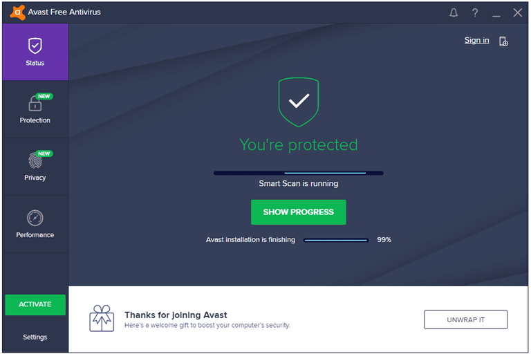 Screenshot of the Avast Free Antivirus program in Windows 7