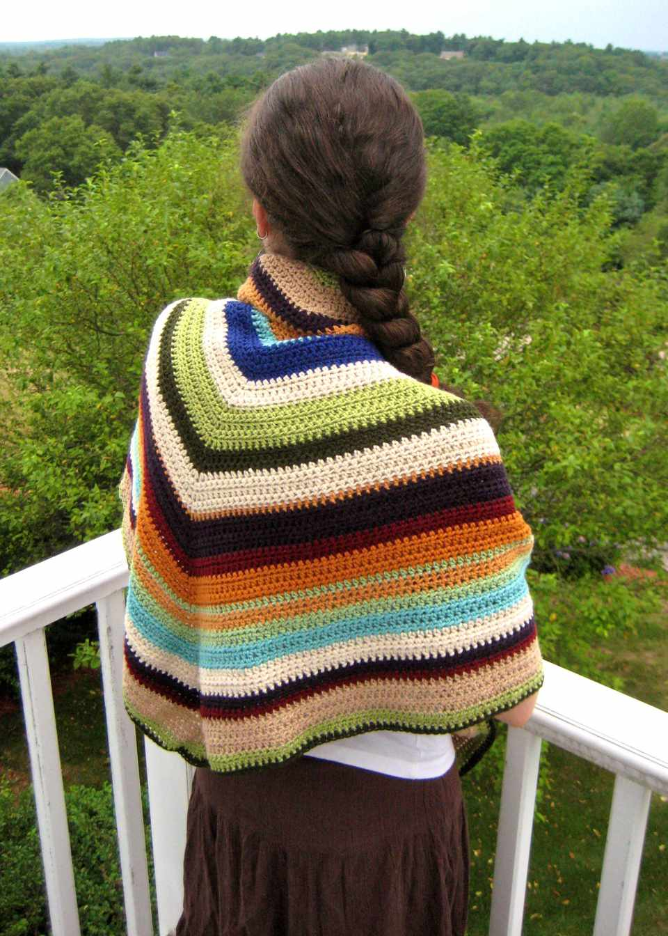 Shawl Crocheted Using Scrap Yarn