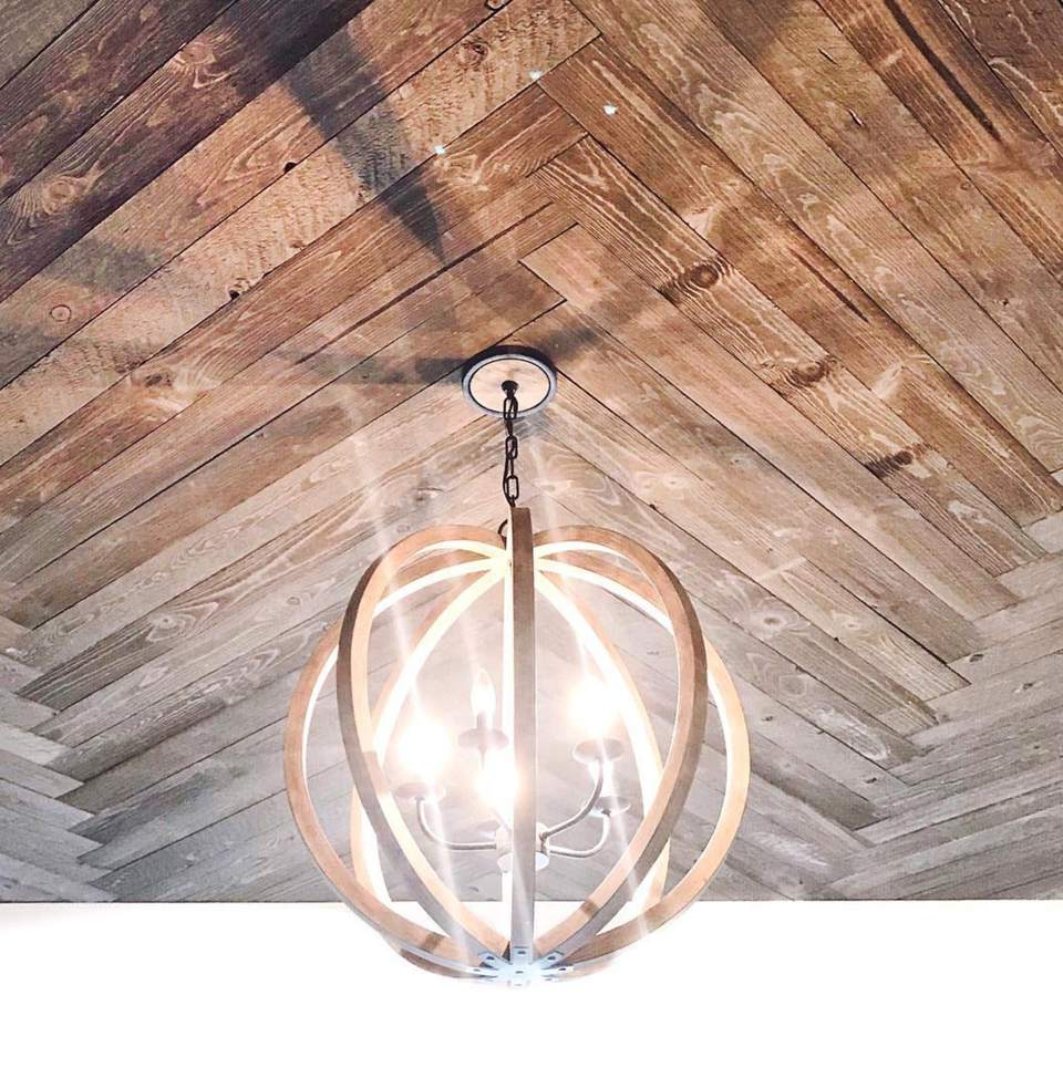 chevron planked ceiling