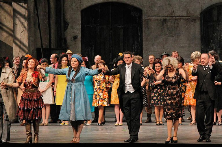 Louise Callinan, Genia Kuhmeier, Philippe Jordan, Anna Caterina Antonacci, and Philippe Faure acknowledge applause during the Arop Gala event for Carmen new production.