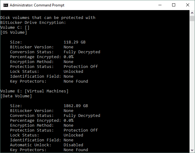Screenshot of an elevated Command Prompt window in Windows 10