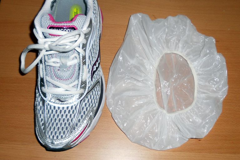 Make a Waterproof Shoe Cover with a Shower Cap