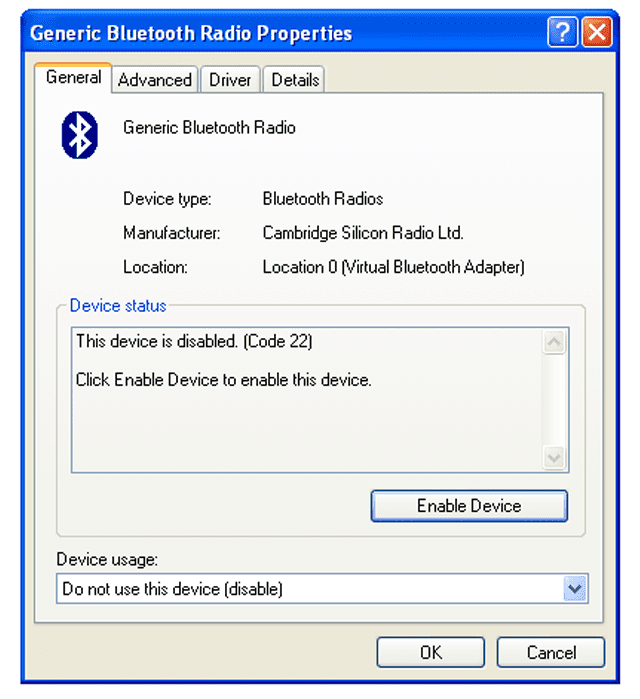 Screenshot of a disabled hardware device in Windows XP