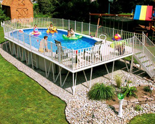 family-friendly backyard with above-ground pool