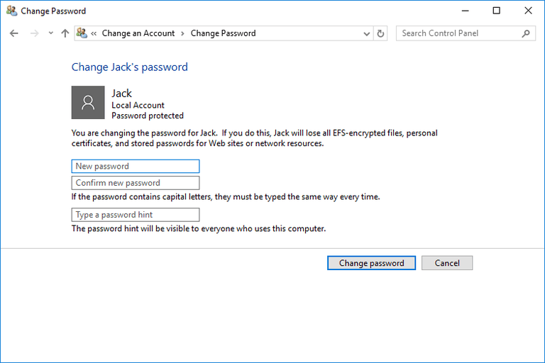 Screenshot showing how to change a user's password in Windows 10