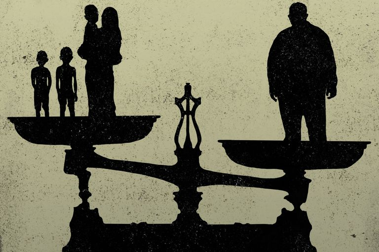 Man vs. woman and children on a balance scale