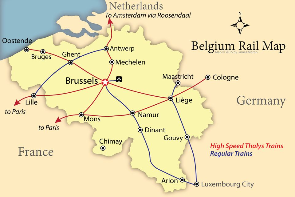 belgium tourism map showing rail lines