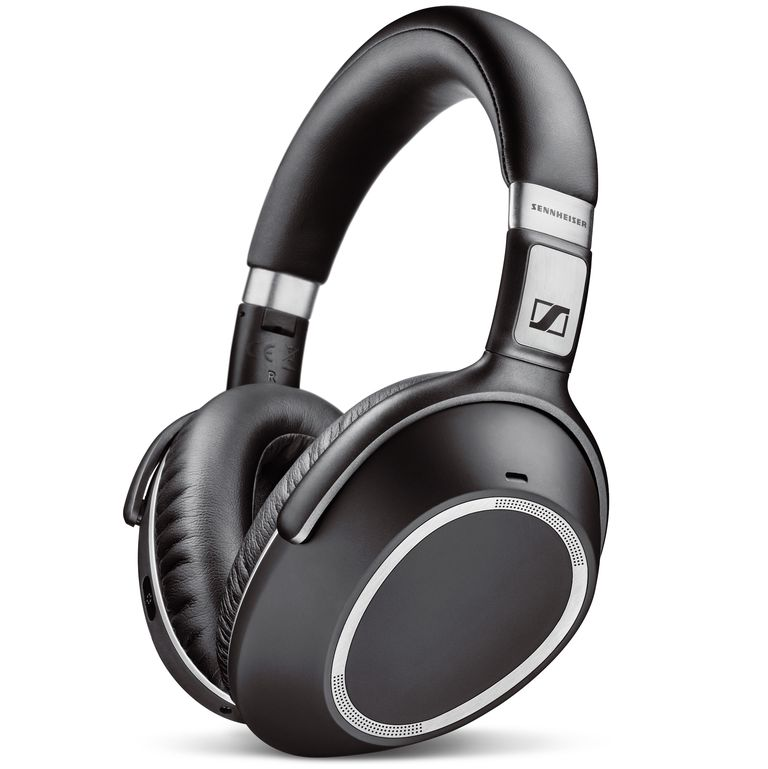 A closeup of the Sennheiser PXC 550 Wireless headphones in black