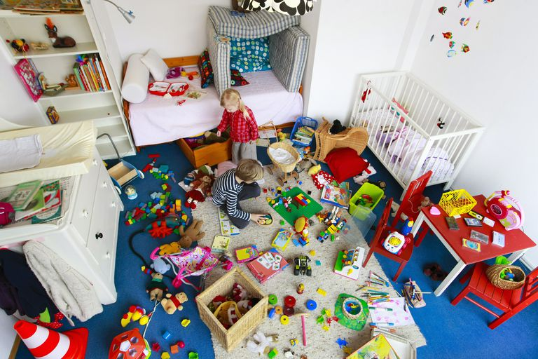Messy playroom with too many toys